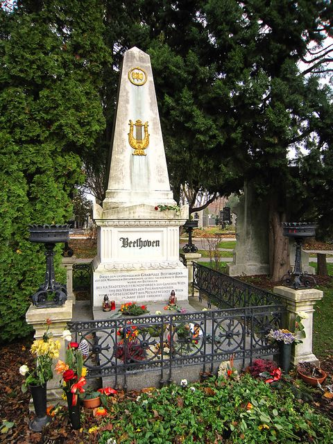 Beethoven grave. If you put your ear to the earth you can hear organ music. Maybe it was my IPod.