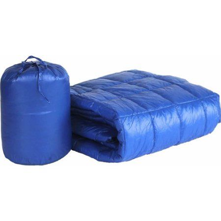 50 inch x 60 inch Puff Ultra Light Indoor/Outdoor Nylon Throw with Compact Travel Bag, Blue