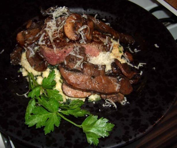 on polenta seared steak and mushrooms on polenta recipes seared steak ...