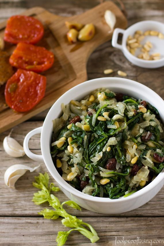 Catalan Style Spinach - spinach with garlic, onion, pine nuts and ...