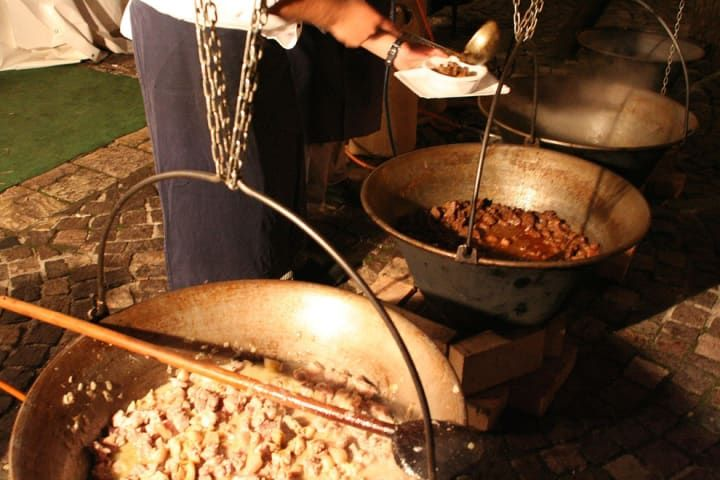 What it is: A pastoral stew made of meat (often beef or chicken gizzards), tomato, paprika, and onions, usually served with a side of Hungarian noodles called nokedli.Why it's awesome: Pörkölt is often cooked outside, over fire in a bogrács, which is a traditional —and heavy— Hungarian metal pot. Throw in a few friends, a loaf of great bread, and some wine, and it's the anchor for one great garden party.Get a recipe [here].