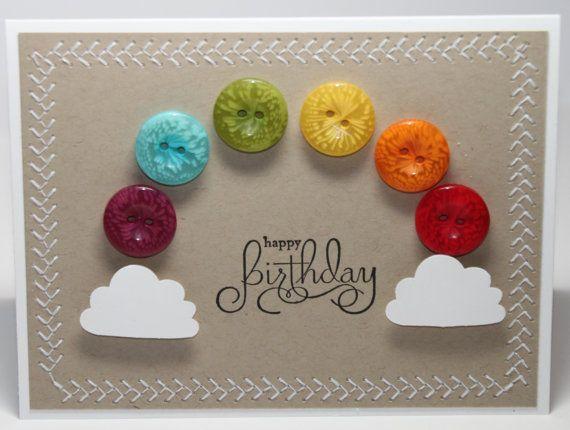 Happy Birthday Rainbow Button Stampin Up Handmade Card Primary Unisex via Etsy