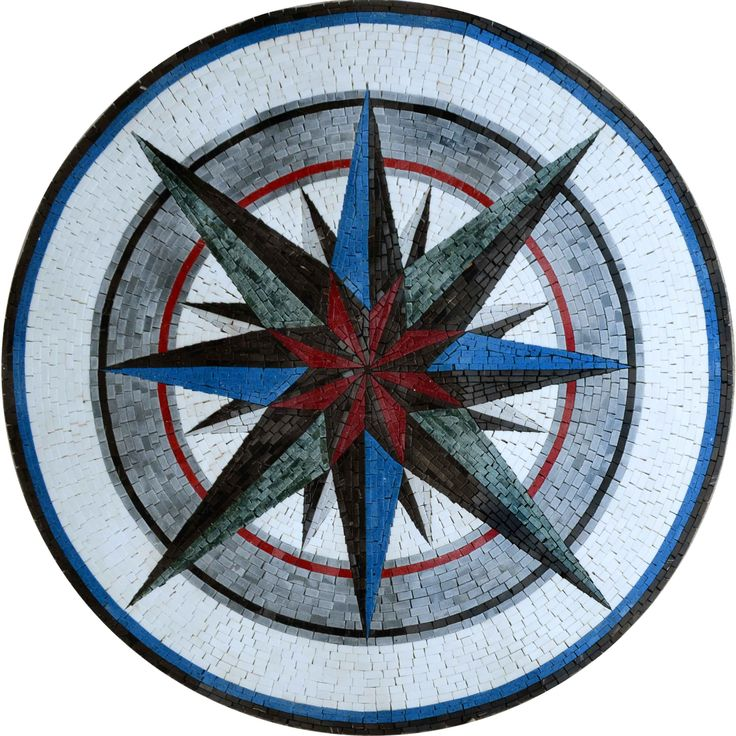 Various Mosaic Patterns - Nautical Mosaic Designs - Mosaic Medallion - The Wind Rose Mosaic | #Mozaico