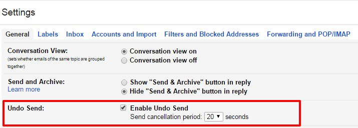 The step-by-step guide to enable undo send and cancel a sent email in Gmail account