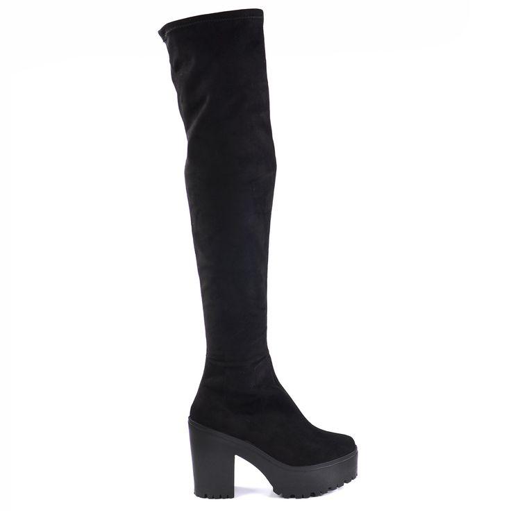 Black platform overknee boots - Zwarte platform overknee laarzen