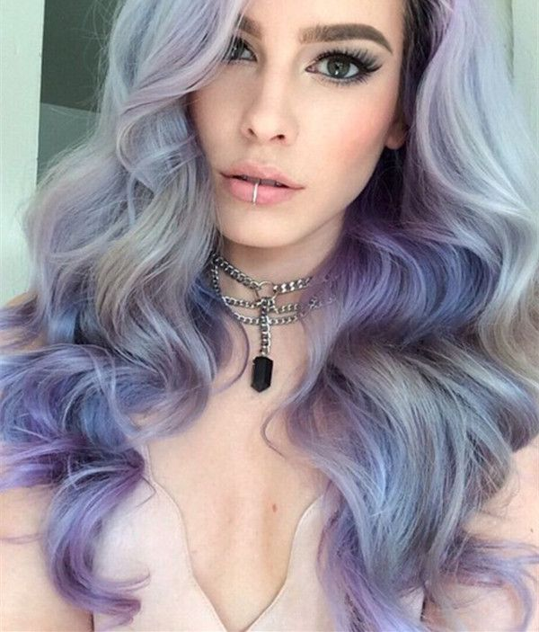 Light gray with lavender purple make this balayage wavy hairstyle look so different