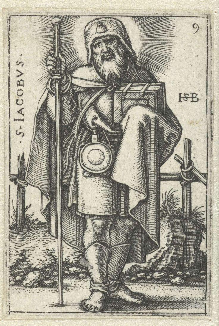 Hans Sebald Beham | Jakobus de Meerdere, Hans Sebald Beham, 1545 - 1546 | Jakobus de Meerdere als pelgrim met zijn attributen, de perlgrimsstaf, pelgrimshoed en een ampul aan zijn gordel.