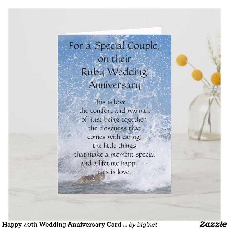 Happy 40th Wedding Anniversary Card Sea Spray Zazzle.co