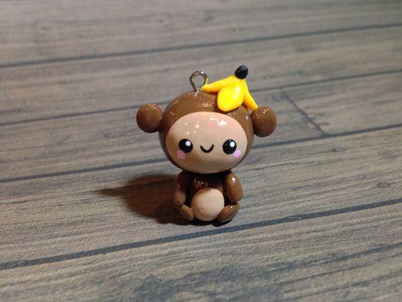 Kawaii Monkey Polymer Clay Charm by PixieAddictions on Etsy, $3.00