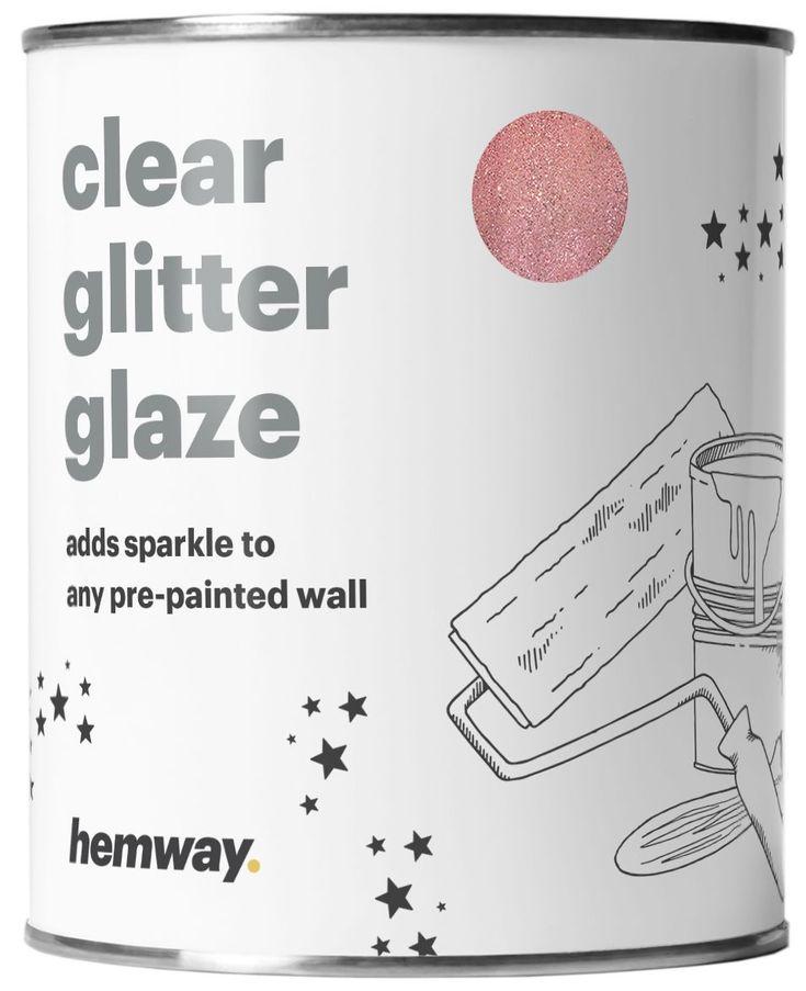 Hemway 1L Clear Glitter Paint Glaze for Pre-Painted Walls (Rose Gold Glitter) - Acrylic, Latex, Emulsion, Ceiling, Wood, Varnish, Dead flat, Matte, Soft Sheen or Silk (CHOICE OF 25 GLITTER COLOURS) #GlitterWalls