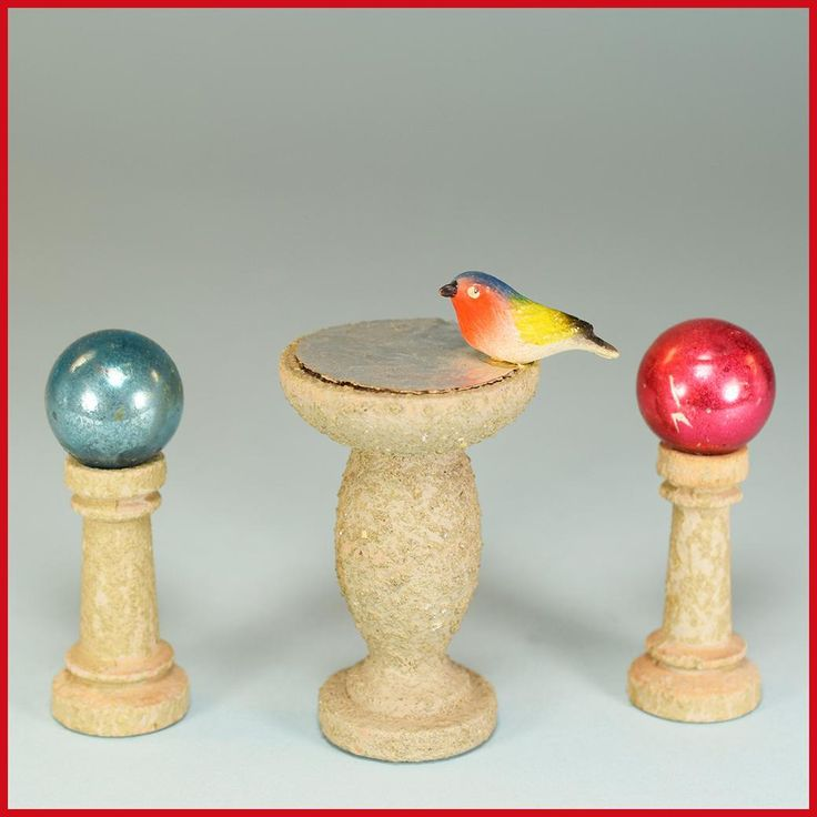 Pair of Dollhouse Gazing Balls on Pedestals and Bird Bath – Easy Built Garden Accessories by Jefferson Sales and Co. 1940s – 1950s 1 Scale – Miniature : Bird Baths