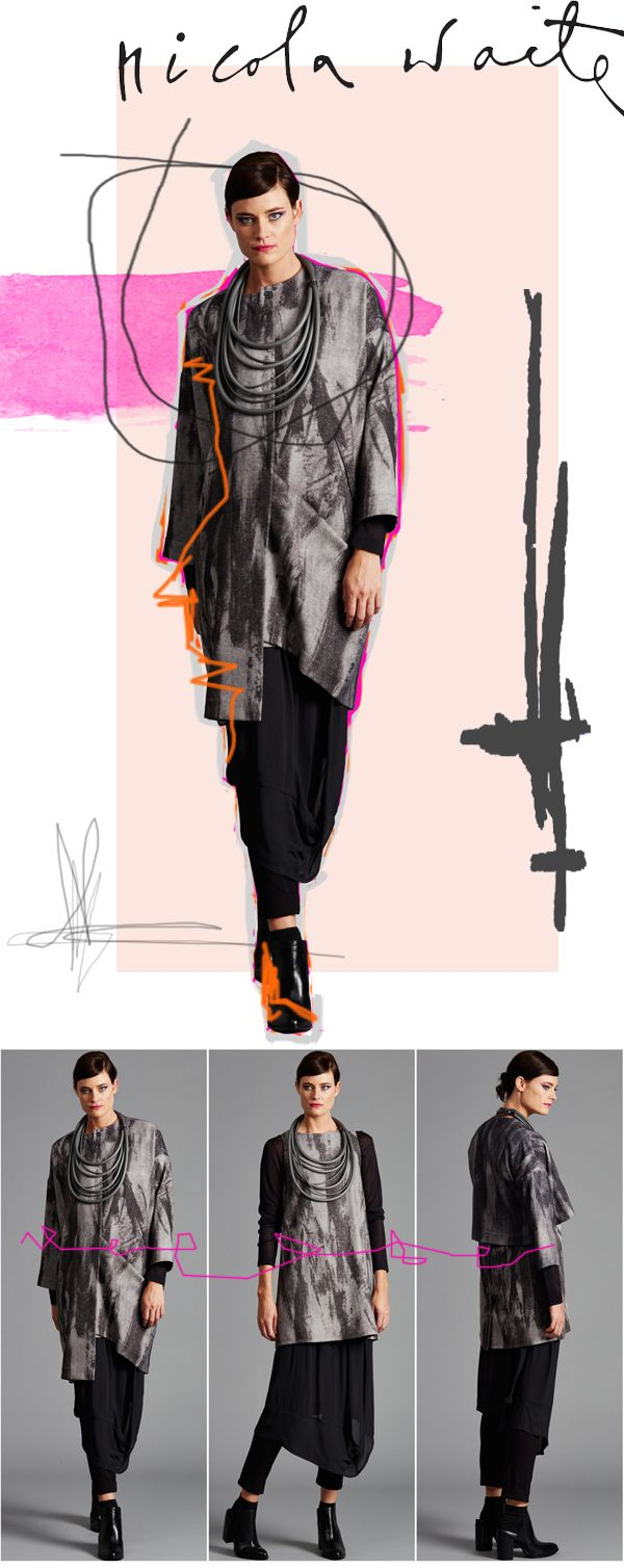 A stunning, edgy abstract print on a luxuriously soft wool/viscose can be seen in three favourite styles: - Cocoon coat - Back button tunic - Crop jacket  This edgy print can be highlighted with bright colour, or look modern and eye catching with black.