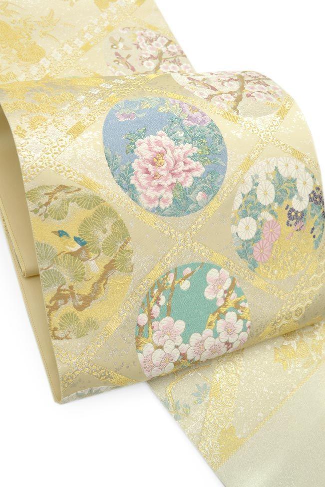 【とみや織物】 創作西陣織袋帯 「四季花鳥景菱紋」