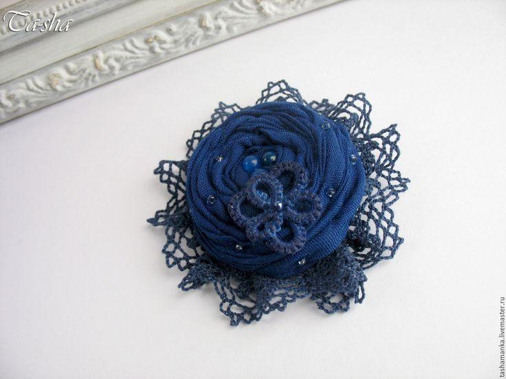 """Купить """"Синий цветок"""" бохо брошь украшение из ткани - брошь в форме цветка, брошь цветок boho chic boho jewelry boho brooch brooch textile"""