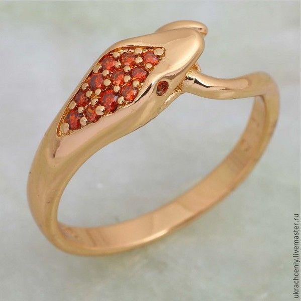 """Купить Кольцо """"Змека"""" в позолоченной оправе 18К с камнем циркония (к144) - кольцо змейка"""