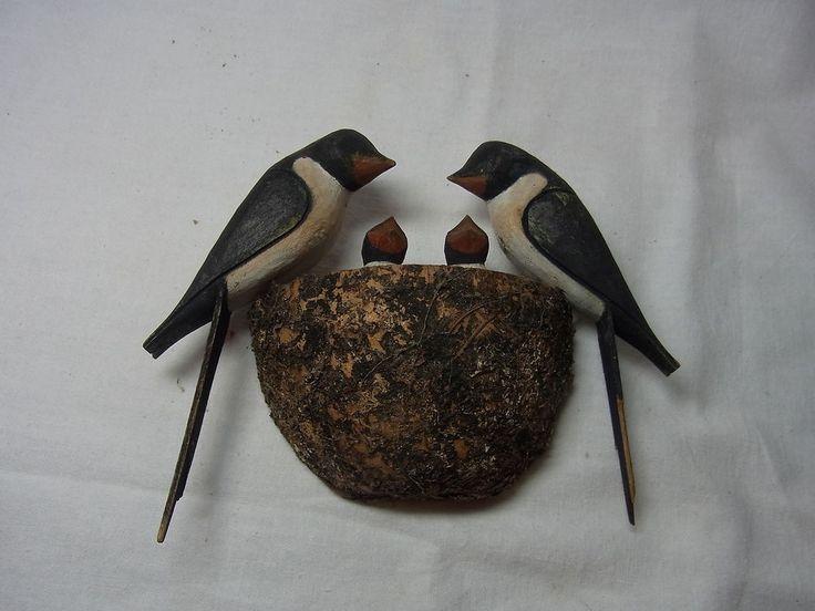 Vintage German Carved Wood Swallow Nest #AS