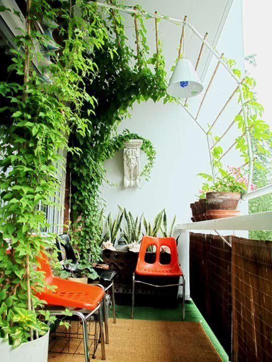 Treillis canopée sur un petit balcon.