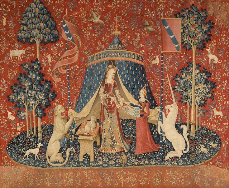 La Dame à la Licorne, 3,77x4,73m, fin XVe siècle, laine et soie, Musée National du Moyen-Age à Paris