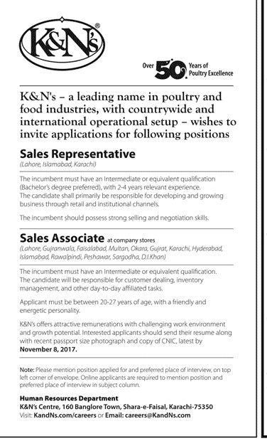 K&N Pakistan Jobs 2017 In Karachi For Sales Representatives And Associates http://www.jobsfanda.com/kn-pakistan-jobs-2017-karachi-sales-representatives-associates/