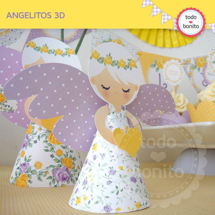 Angelitos 3D en amarillo y violeta para primera comunion