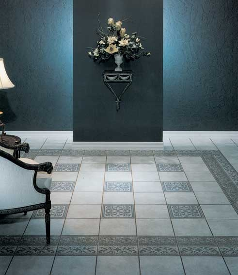 #Ceramic #tiles with patterned border and inlays. #UnionTiles #foyer