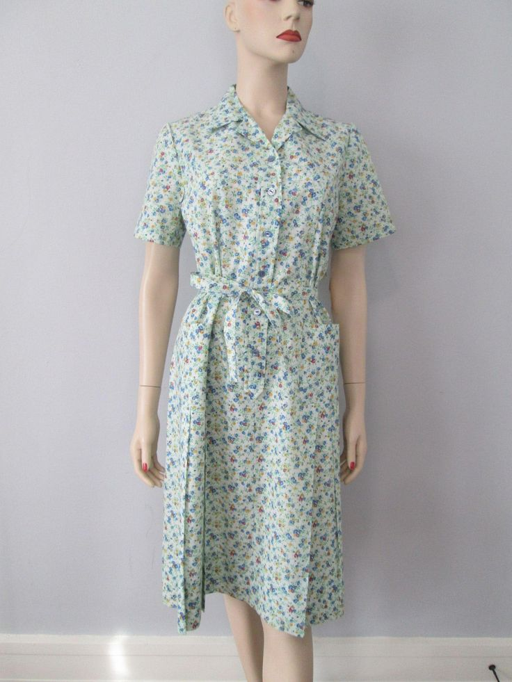 Womens Floral Shirt Dress Vintage 1950s Nancy Frock Dead Stock NWT