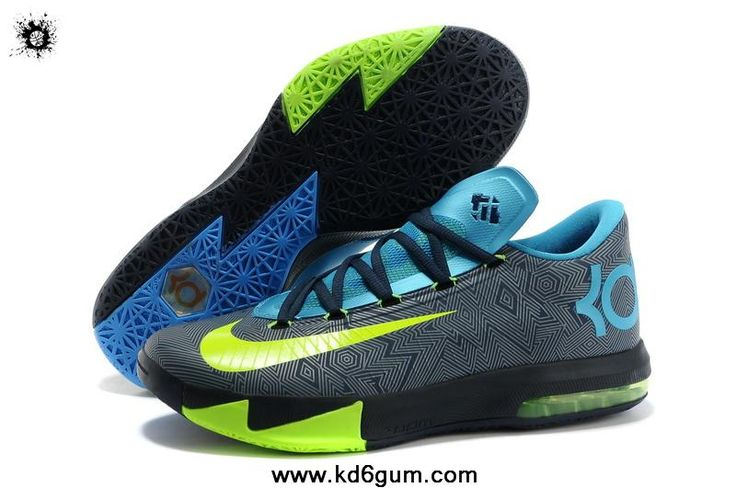 Nike KD VI Away II Black/Volt-Vivid Blue-Dark Grey Shoes Shop