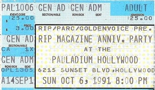 RIP Magazine 5th Anniversary Party stub featuring Alice in Chains, Pearl Jam Soundgarden & Spinal Tap