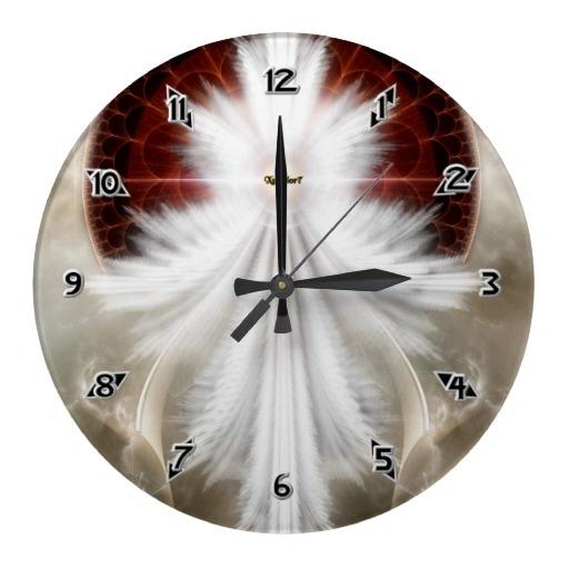 Angel Wings Snowflake Fractal Art Round Wallclocks $28.10 - Click Here http://xzendor7.com/xzendor7-wall+clocks.php