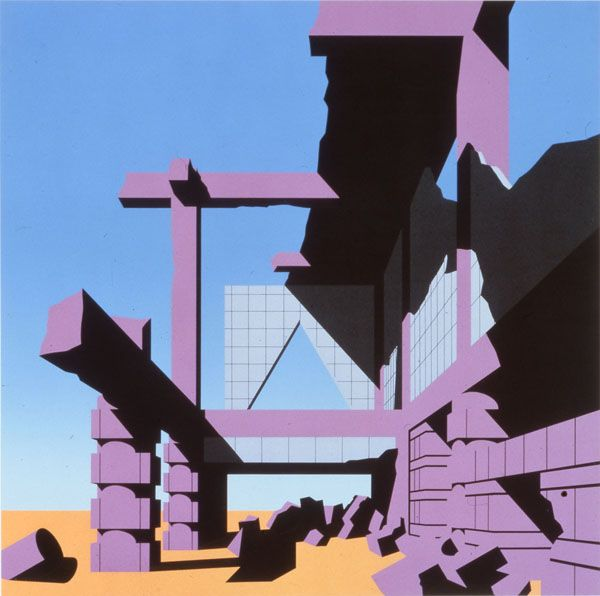 arata isozaki, screen print from the '120 invisible cities' series