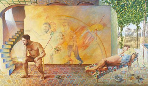 he escogido esta obra llamada  la estancia de Guillermo Pérez Villalt  nacido en Tarifa, Cádiz en el año 1948,esta imagen se trata de un autorretrato idealizado del artista tanto la persona sentada y desnuda como la persona dormida.