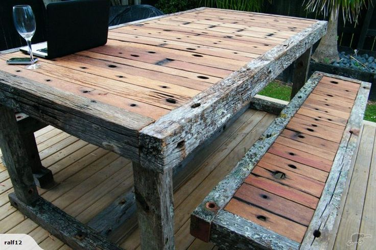 Recycled Powerpole Crossarm Table and Seats | Trade Me