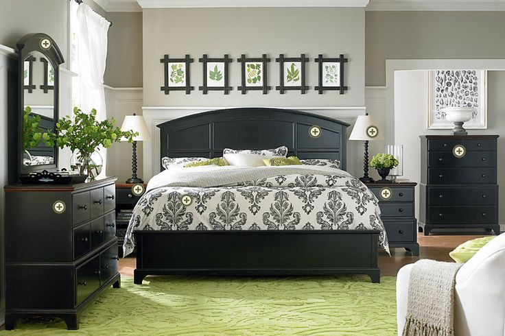 I like the black furniture with white and green.