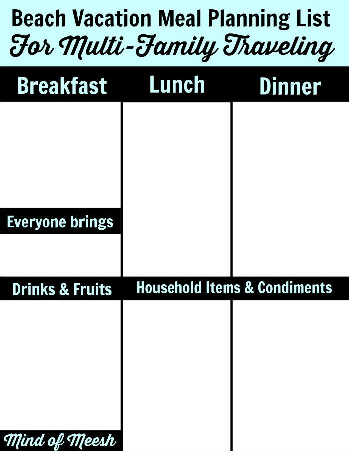 Blank Beach Vacation Meal Planning