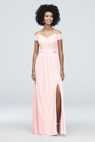 1caaa8ed9bbc Off-the-Shoulder Lace and Mesh Bridesmaid Dress Style F19950, Canary ...