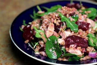 Farro and smoked trout salad