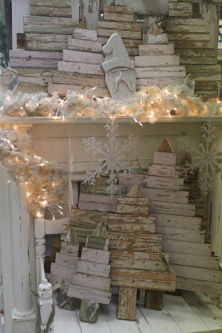 "Scrap Wood Christmas Trees..these would be really cool with ""Merry Christmas or Happy Holidays"" painted on them"