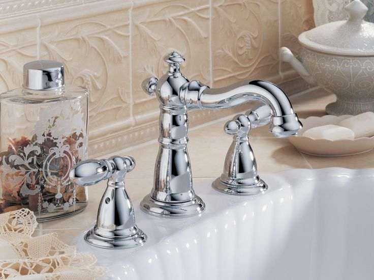Signature Hardware Victorian Widespread Bathroom Faucet: Delta 3555LF-216 Victorian Two Handle Widespread Lavatory