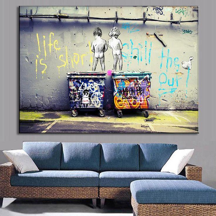 Бэнкси искусства жизнь кокильная утка из дешевых современная холсте холст картины маслом купить на AliExpress