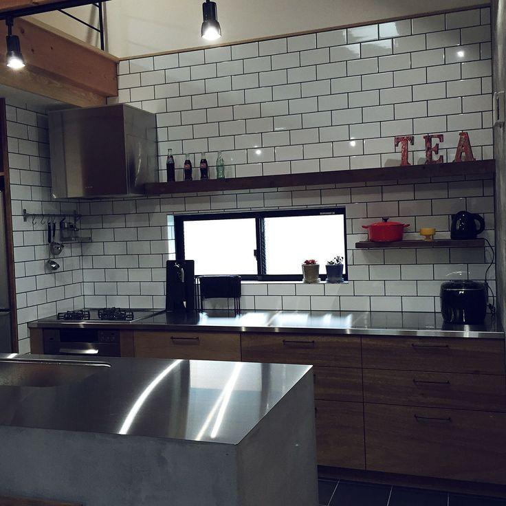 Kitchen/アルファベットオブジェ/モルタル/キッチンタイル/ステンレス天板/ガス派...などのインテリア実例 - 2015-02-11 04:52:01
