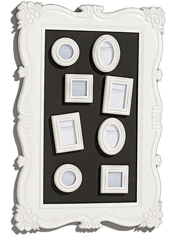 Doar acum găseşti în gama noastră de decoraţiuni interioare rama foto model Baroque cu ramă din MDF alb, de dimensiuni 60x40 cm, în aceasta putându-se înrăma 8 fotografii.