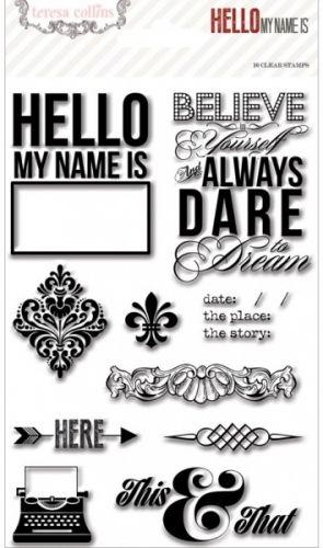 TERESA COLLINS - HELLO MY NAME IS 1013 - HERE Pakken inneholder 10 stk clear stamps. WE R MEMORY KEEPERS-TERESA COLLINS-Hello My Name Is Clear Stamps