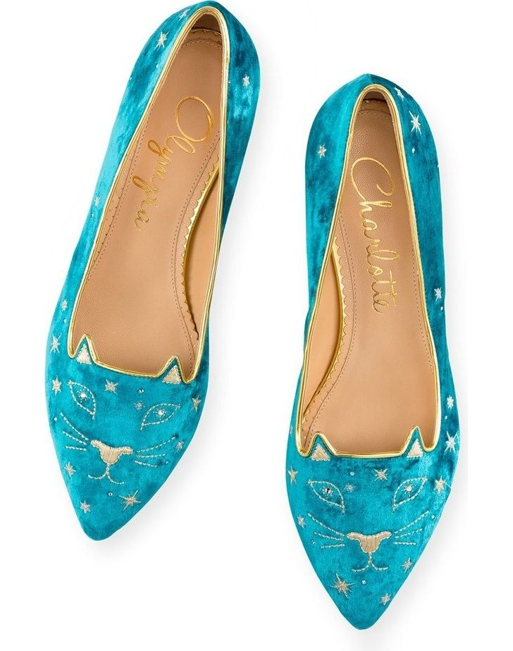 Golden stars and glittering crystals adorn this luxe flat crafted in shimmering aquamarine velvet. Each shoe features a crystal-eyed kitty face with embroidered pointy ears and a golden smile.