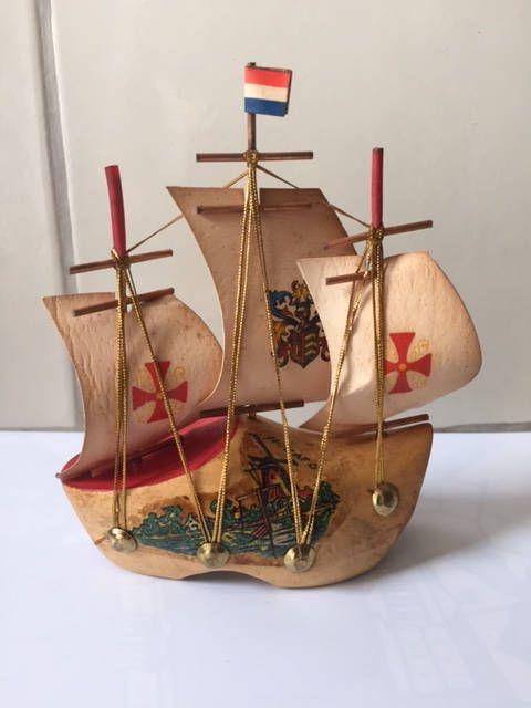 Vintage ship miniature Netherlands sailing boat clog wood