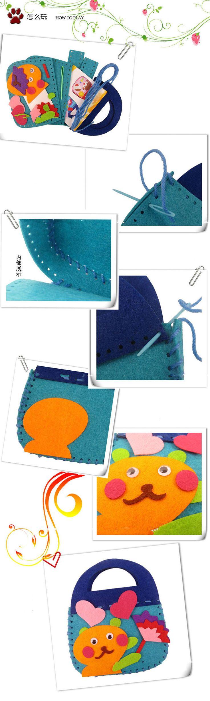 Aliexpress.com: Comprar 5 unids/lote hacer bolsos hechos a mano fieltro no tejido paño de tela Kit muchacha de los cabritos de arte y artesanía juguetes para los niños de bolsos florales fiable proveedores en YINGXUAN TOYS RETAILS & WHOLESALE