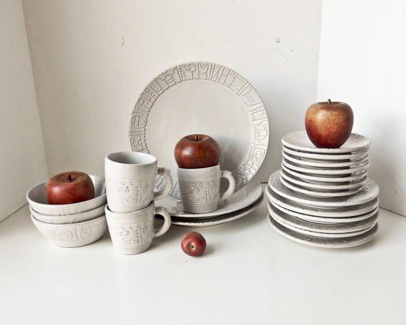 Dinner Plates Dish Set Frankoma Pottery Vintage by BeeJayKay