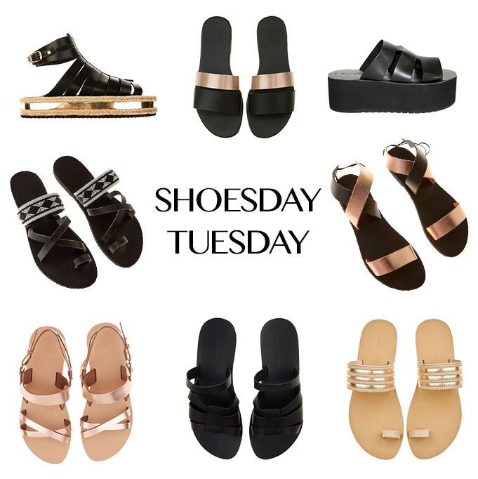 SHOESDAY #TUESDAY: Browse our coolest summer shoe styles that can easily be worn to the beach, in the city, and anywhere in between! #wecreateharmony #valiagabriel #zali #sandals #shoes #shoesdaytuesday  Shop the sandals here, left to right, top to bottom ▷ Glamazons gold + black platform: http://bit.ly/1h24K5d Glamazons rose gold + black flats: http://bit.ly/1KvBGfT Glamazons black platform: http://bit.ly/1MTtYwC Zali black + white flats: http://bit.ly/1fCN8vw Zali black + rose gold flats…