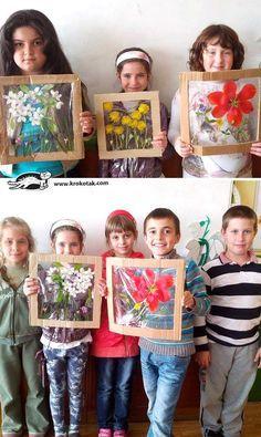 Hebben ze weer van die mooie bloemen geplukt en je hebt geen vaasje? Maak dan eens van plastic folie en een kartonnen frame een bloemen'schilderij'. Echt leuk resultaat!  P.S. Een mandala van mooie herfstbladeren kan natuurlijk ook.