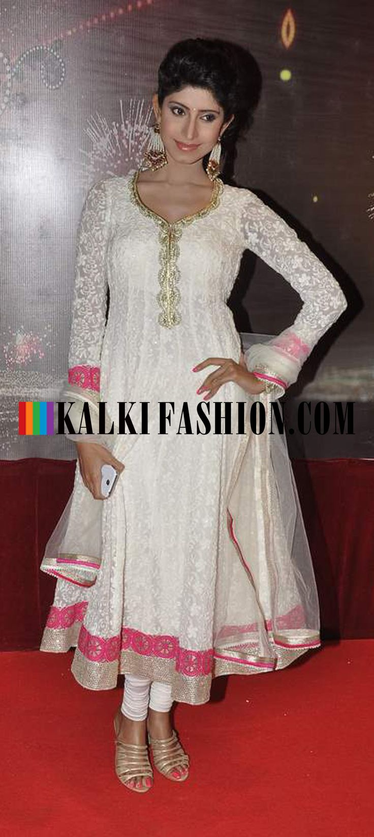 http://www.kalkifashion.com/  Vindhya Tiwari in a white net anarakali  at Indian Telivision Awards 2013