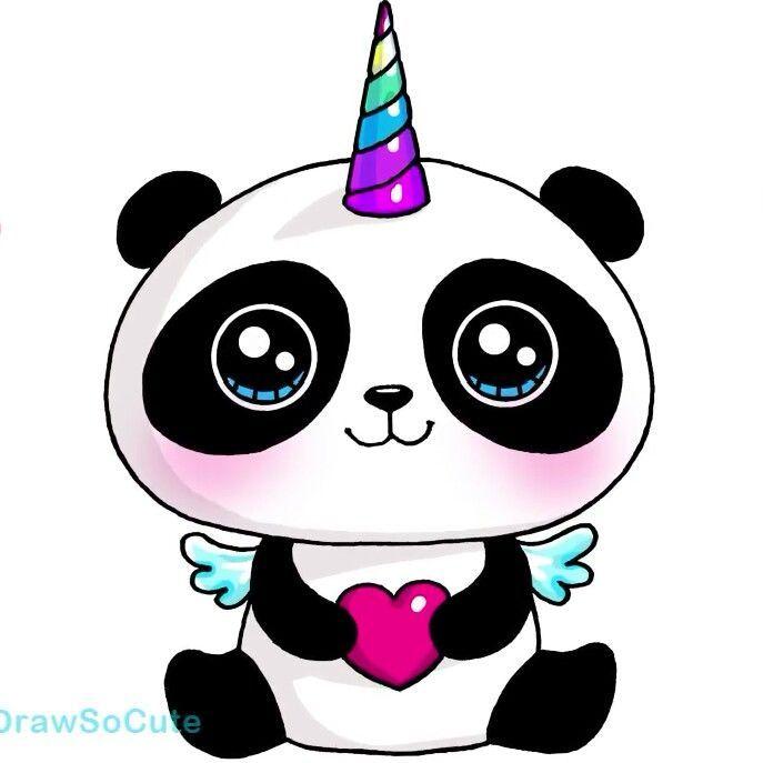 Panda Unicornio Kawaii Es Tan Adorable Cute Kawaii Drawings Kawaii Girl Drawings Cute Drawings